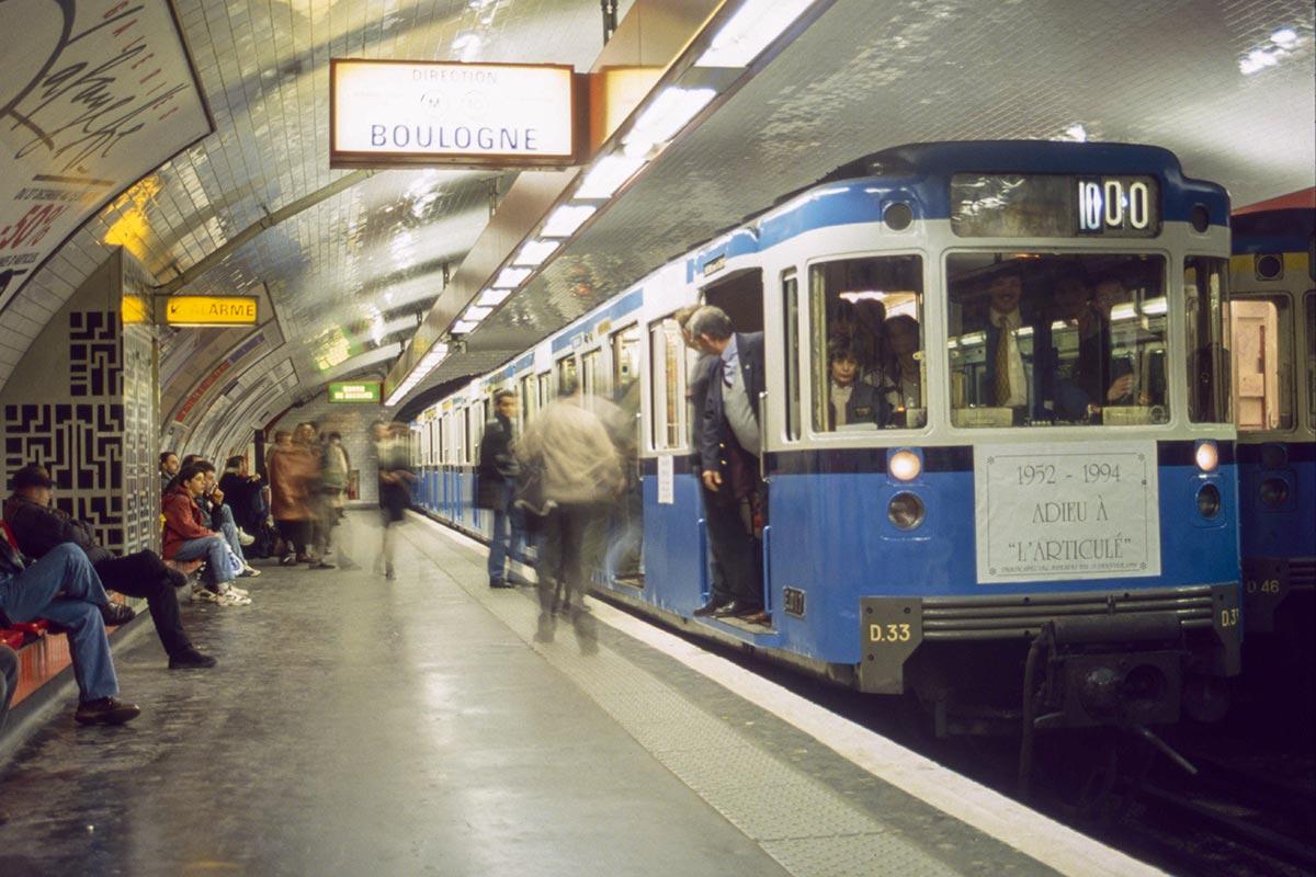 Éléments du matériel articulé à la station Gare d'Austerlitz
